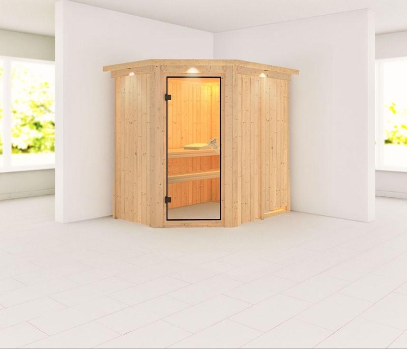 Karibu System Sauna 230 Volt Saja (Eckeinstieg) 68 mm mit Dachkranz