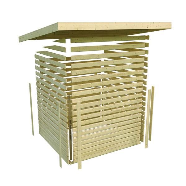 Karibu Holz Gartenhaus Kerpen 5 im Set mit Anbaudach 2,60 m Breite Farbe: terragrau
