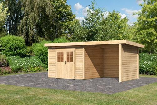 Karibu Holz Gartenhaus Kerpen 3 im Set mit Anbaudach 2,60 m Breite und 28 mm Seiten- und Rückwand Farbe: naturbelassen