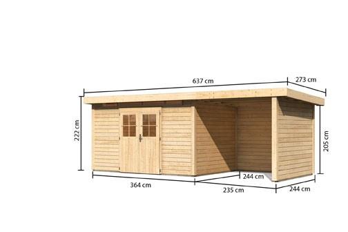 Karibu Holz Gartenhaus Kerpen 5 im Set mit Anbaudach 2,60 m Breite und  28 mm Seiten- und Rückwand Farbe: naturbelassen