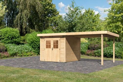 Karibu Holz Gartenhaus Kerpen 2 im Set mit Anbaudach 3,2 m Breite Farbe: naturbelassen