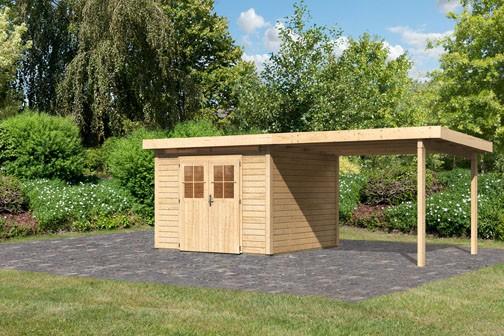 Karibu Holz Gartenhaus Kerpen 3 im Set mit Anbaudach 3,2 m Breite Farbe: naturbelassen