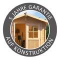 Karibu Holz Gartenhaus Kerpen 5 im Set mit Anbaudach 3,2 m Breite und 28 mm Seiten- und Rückwand Farbe: naturbelassen