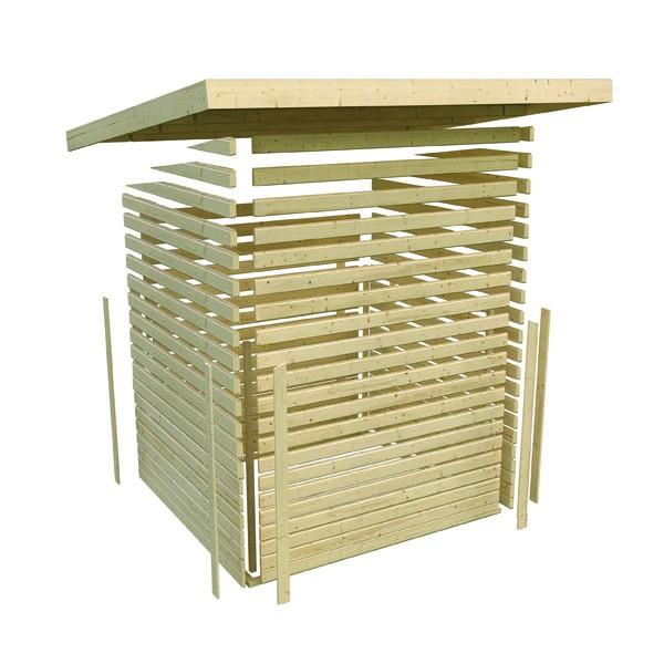 Karibu Holz Gartenhaus Tecklenburg 1 Türversion classic im Set 3,3 m Anbaudach Seiten- und Rückwand Farbe: terragrau