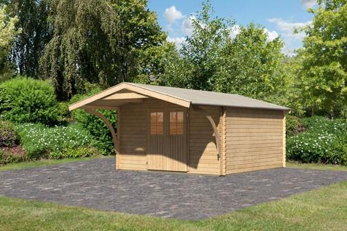 Karibu Holz Gartenhaus Buxtehude 6 inkl. Vordach Farbe: naturbelassen