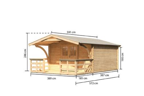 Karibu Holz Gartenhaus Buxtehude 6 inkl. Vordach und Terrasse Farbe: naturbelassen