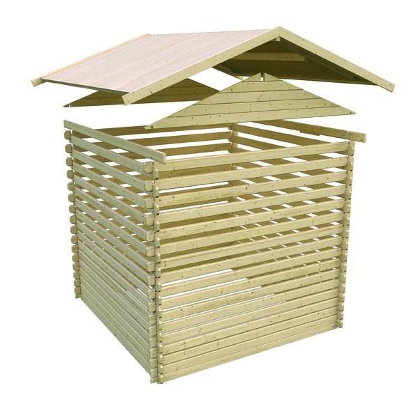 Karibu Holz Gartenhaus  Mühlheim 5 inkl. Vordach und Terrasse Farbe: naturbelassen