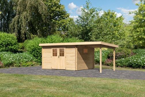 Karibu Holz Gartenhaus  Torgau 4 im Set mit Anbaudach 2,3 m Farbe: naturbelassen