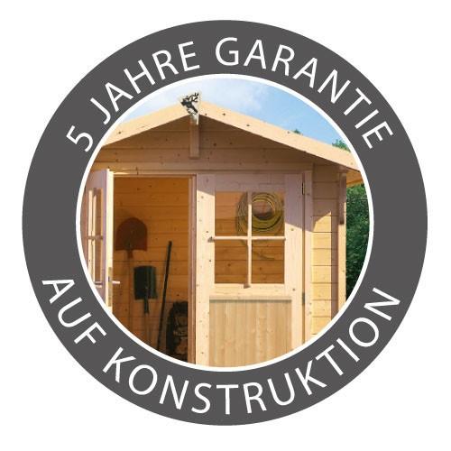 Karibu Holz Gartenhaus  Torgau 5 im Set mit Anbaudach 4,4 m Farbe: naturbelassen