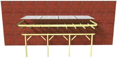 Karibu Terrassenüberdachung Modell 3 Größe C (besteht aus Modell 1 + 2 x Verlängerungspaket) Farbe: Silbergrau mit Dacheindeckung(10mm Doppelstegplatten)