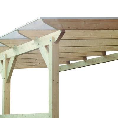 Karibu Terrassenüberdachung Modell 2 Größe C (besteht aus Modell 1 + 2 x Verlängerungspaket) Farbe: Schneeweiß mit Dacheindeckung(10mm Doppelstegplatten)
