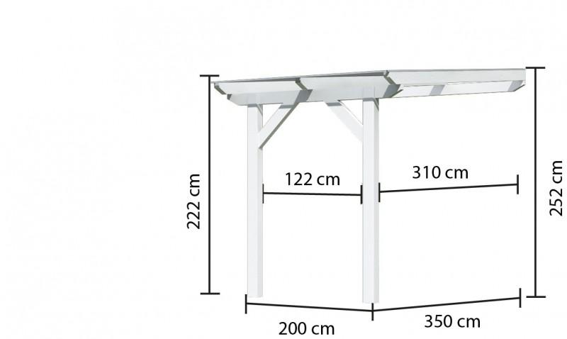Karibu Terrassenüberdachung Modell 3 Größe A  Farbe: Schneeweiß mit Dacheindeckung(10mm Doppelstegplatten)