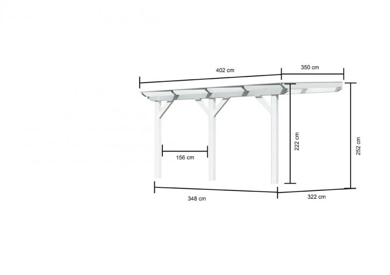 Karibu Terrassenüberdachung Modell 3 Größe B (besteht aus Modell 1 + 1 x Verlängerungspaket) Farbe: Schneeweiß mit Dacheindeckung(10mm Doppelstegplatten)