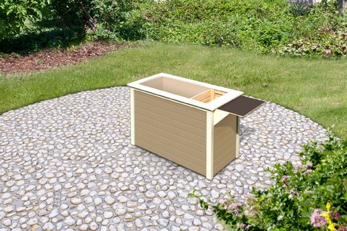 Karibu Holz Hochbeet 1 inkl Schrankoption Farbe: sandbeige