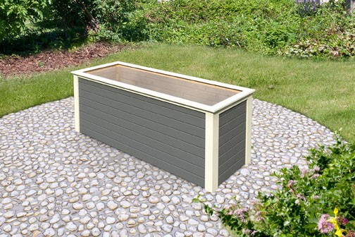 Karibu Holz Hochbeet 2 in 28 mm Farbe: terragrau