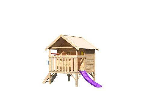 Karibu Mini Haus, mit violetter Rutsche klein, Handgriff. Telefon und Teleskop