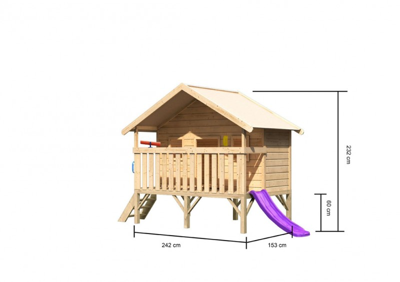 Karibu Maxi Haus, mit blauer Rutsche klein, Handgriff. Telefon und Teleskop