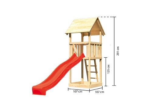 Karibu Spielturm Lotti Satteldach + Rutsche rot
