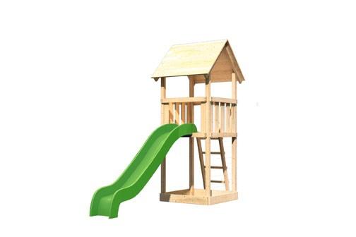 Karibu Spielturm Lotti Satteldach + Rutsche grün