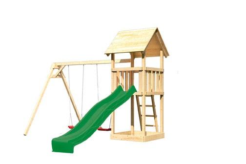 Karibu Spielturm Lotti Satteldach + Rutsche grün + Doppelschaukel