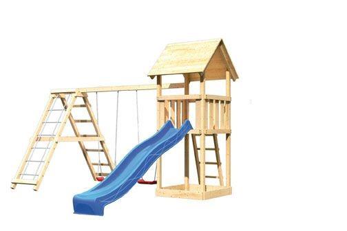 Karibu Spielturm Lotti Satteldach + Rutsche blau + Gerüst / Doppelschaukel