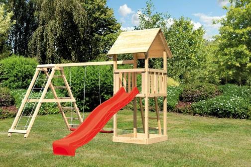 Karibu Spielturm Lotti Satteldach + Rutsche rot + Gerüst / Doppelschaukel
