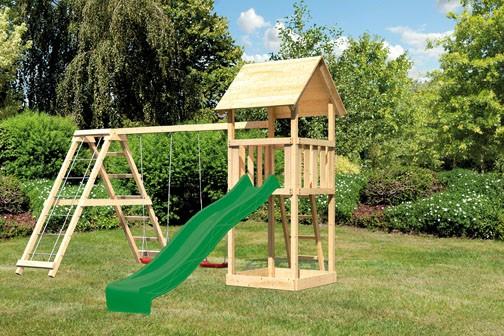 Karibu Spielturm Lotti Satteldach + Rutsche grün + Gerüst / Doppelschaukel