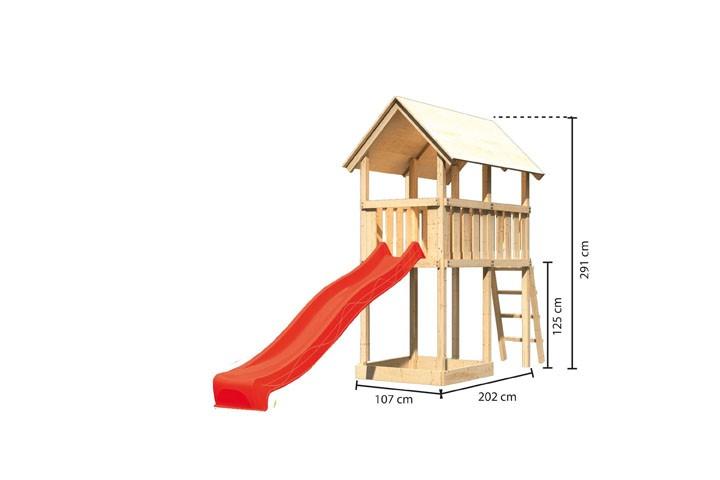 Karibu Spielturm Danny  Satteldach + Rutsche rot