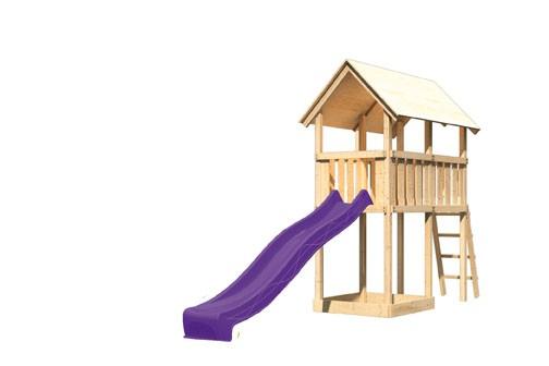 Karibu Spielturm Danny  Satteldach + Rutsche violett