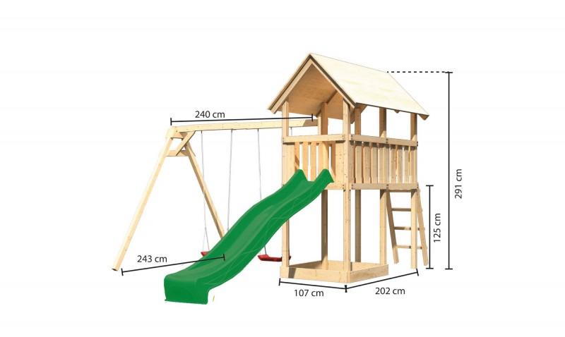 Karibu Spielturm Danny  Satteldach + Rutsche grün + Doppelschaukel