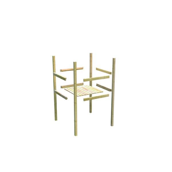 Karibu Spielturm Luis  Satteldach + Rutsche blau + Gerüst / Doppelschaukel