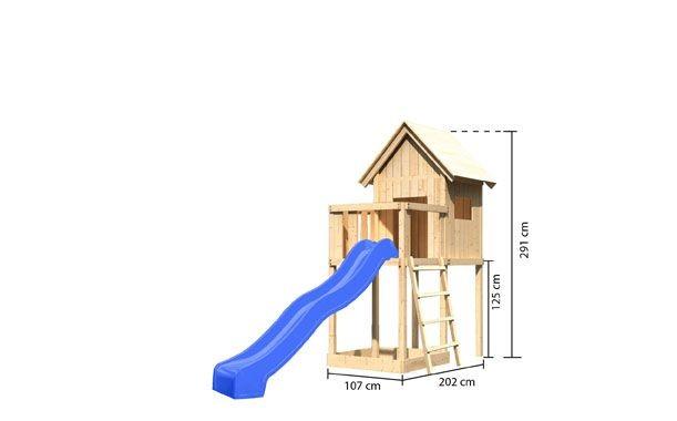 Karibu Spielturm Luis  Satteldach + Rutsche grün + Gerüst / Doppelschaukel