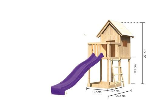 Karibu Spielturm Frieda mit Anbau  Satteldach + Rutsche violett