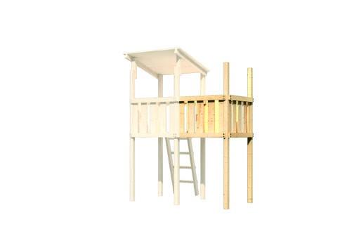 Karibu Spielturm Frieda mit Anbau  Satteldach + Rutsche rot + Doppelschaukel