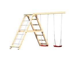Karibu Spielturm Frieda mit Anbau  Satteldach + Rutsche rot + Gerüst / Doppelschaukel