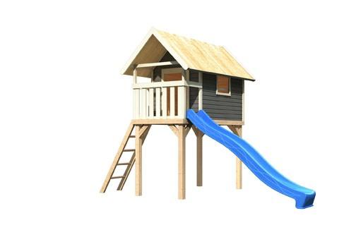 Karibu Stelzenhaus Gernegroßin terragrau mit Rutsche blau