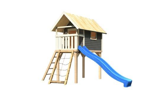 Karibu Stelzenhaus Gernegroß terragrau mit Rutsche blau und Netzrampe