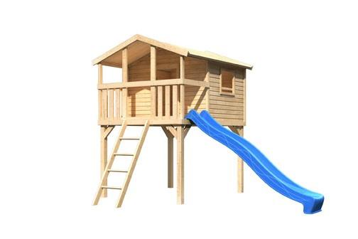 Karibu Stelzenhaus Benjamin mit Rutsche blau (Naturbelassen)