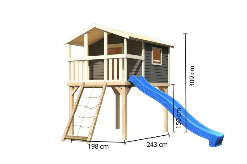 Karibu Stelzenhaus Benjamin mit Rutsche blau und Netzrampe (Seidengrau)