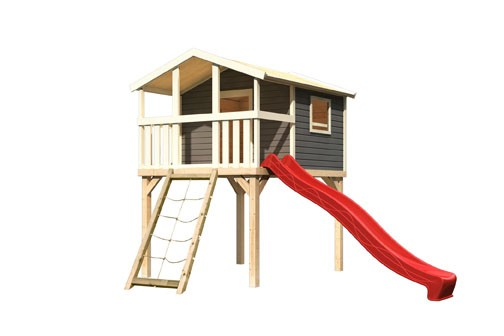 Karibu Stelzenhaus Benjamin mit Rutsche rot und Netzrampe (Seidengrau)