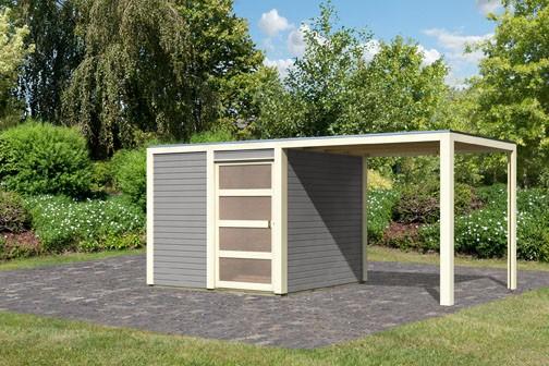 Karibu Holz-Gartenhaus  28mm Qubic im Set mit Anbaudach  seidengrau