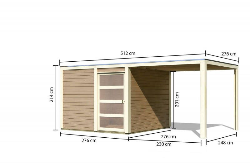 Karibu Holz-Gartenhaus  28mm Qubic 2 im Set mit Anbaudach  sandbeige