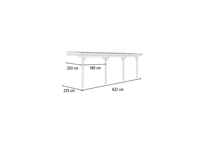 Karibu Holz Terrassenüberdachung Modell 1 ECO - Grösse C (203 x 622) cm - kdi