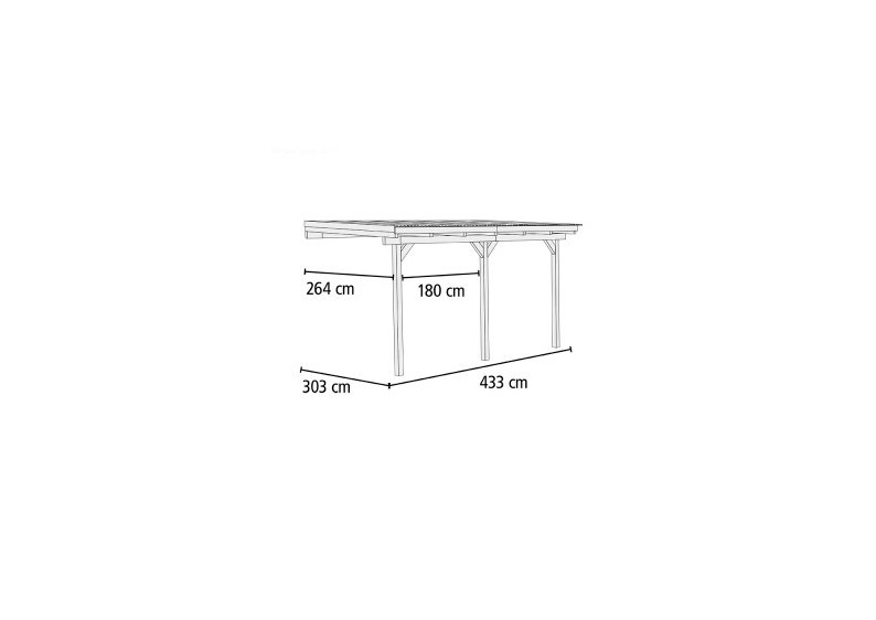 Karibu Holz Terrassenüberdachung Modell 2 ECO - Grösse B (303 x 433) cm - kdi