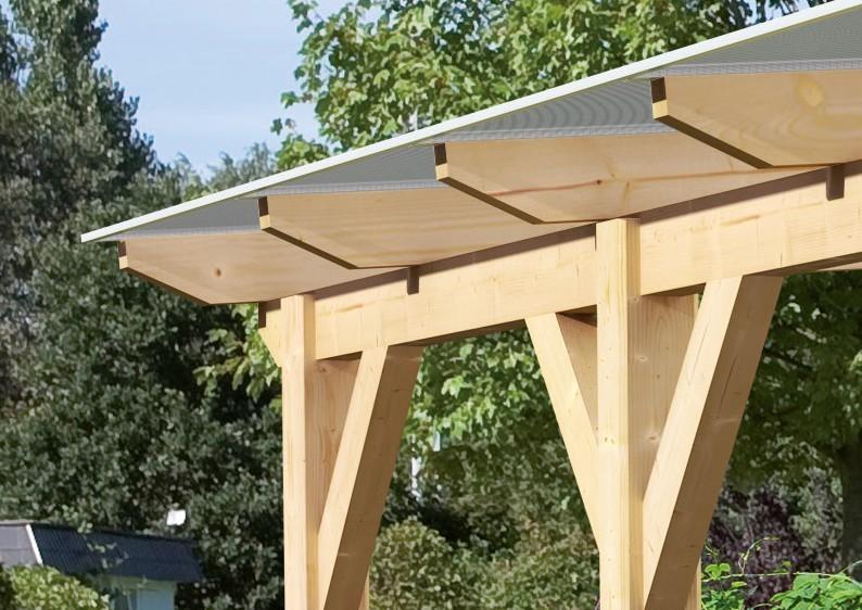 Karibu Holz Terrassenüberdachung Modell 2 Classic - Grösse A (300 x 200) cm - Leimholz natur