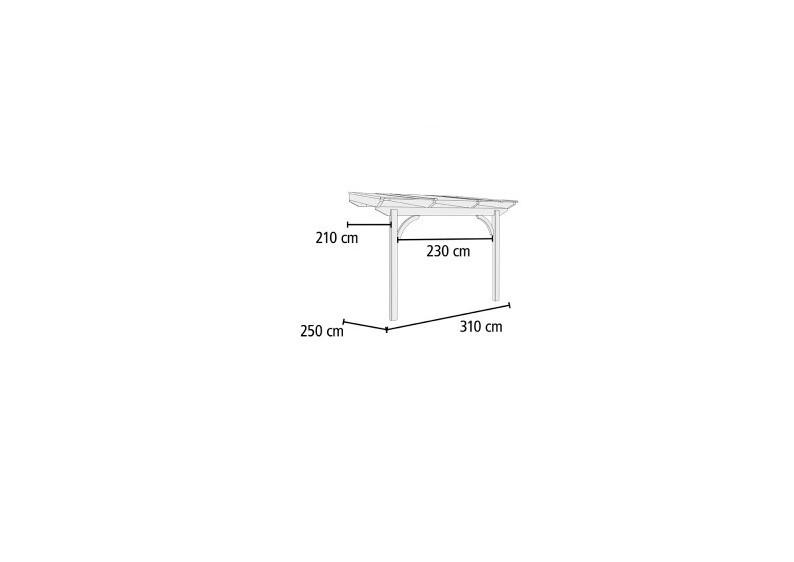 Karibu Holz Terrassenüberdachung Modell 1 Premium - Grösse A (250 x 310 cm) - Douglasie gerade