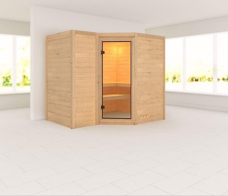 Karibu Massiv Sauna Sahib 2 Classic (Eckeinstieg) 40 mm ohne Zubehör
