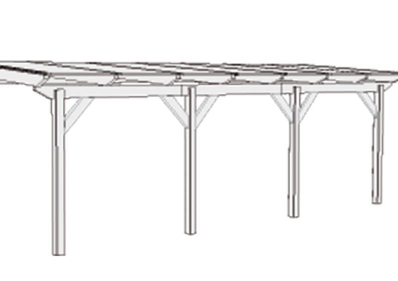 Karibu Holz Terrassenüberdachung Modell 2 Premium - Grösse C (300 x 714 cm) - Douglasie gerade