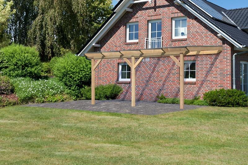Karibu Holz Terrassenüberdachung Modell 3 Premium - Grösse B (350 x 512 cm) - Douglasie gerade