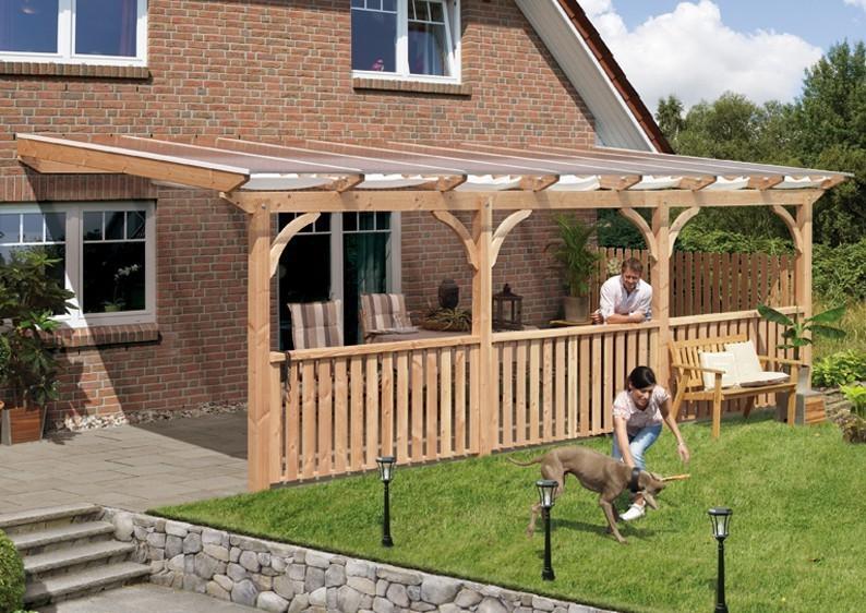 Karibu Holz Terrassenüberdachung Modell 3 Premium - Grösse B (350 x 512 cm) - Douglasie rund